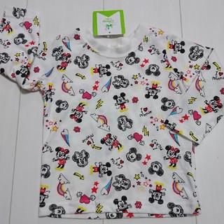 ディズニー(Disney)の新品タグ付きミッキーミニー総柄ロングTシャツ80センチロンT(Tシャツ)