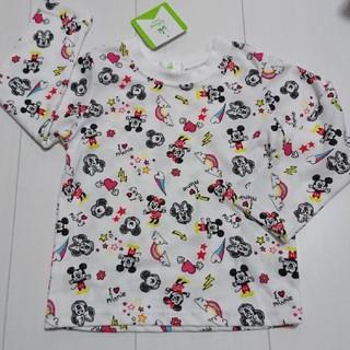 ディズニー(Disney)の新品タグ付きミッキーミニー総柄ロングTシャツ95センチロンT(Tシャツ/カットソー)