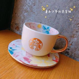 Starbucks Coffee - 薔薇 花 バレンタイン 海外スターバックス ハート マグカップ&ソーサー