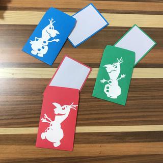 ディズニー(Disney)のメッセージカード グリーティングカード オラフ アナ雪 ディズニー 手作り(カード/レター/ラッピング)