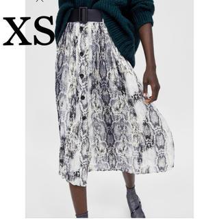 ZARA - 新品 未使用 ザラ ベルト付き パイソン柄 スネーク ボタン スカート