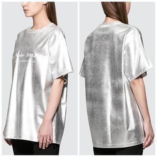 エムエムシックス(MM6)の新品未使用☆ MM6 エムエムシックスマルジェラ☆メタリックプリントロゴTシャツ(Tシャツ(半袖/袖なし))