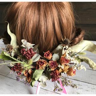 ドライフラワー髪飾  アンティークレッド系1(ドライフラワー)