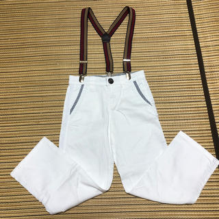 イッカ(ikka)のイッカ パンツ サスペンダー付き 白 110センチ(パンツ/スパッツ)