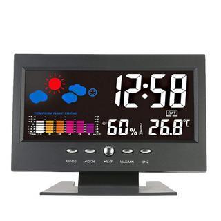 ☆人気商品☆カラーディスプレイ デジタル温度湿度計  USBケーブルで充電可(置時計)
