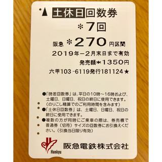 阪急電鉄(阪神電鉄)270円回数券  残り2回(鉄道乗車券)