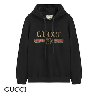 Gucci - gucci メンズパーカー プリントロゴ カジュアル