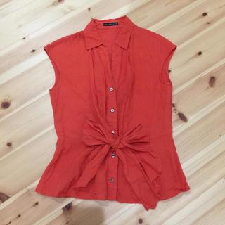 エストネーション(ESTNATION)のエストネーション リネン シャツ リボン オレンジ(Tシャツ(半袖/袖なし))