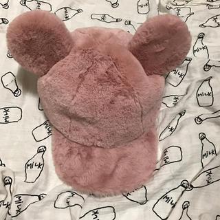 Disney - ディズニー ミッキー 帽子 ファキャップ ふわふわ ピンク