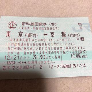 ジェイアール(JR)の東京⇔京都 新幹線チケット(鉄道乗車券)