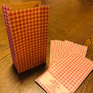 未晒 レトロ ギンガム 紙袋 FB-SS アカ / 50(ラッピング/包装)