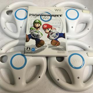 ウィー(Wii)のWii ソフト マリオカートWii ハンドル4個 セット(家庭用ゲームソフト)