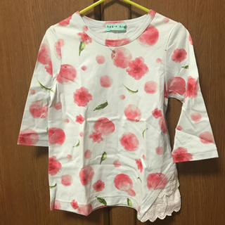 ハッカキッズ(hakka kids)のハッカキッズ ピーチフラワープリントTシャツ 110(Tシャツ/カットソー)
