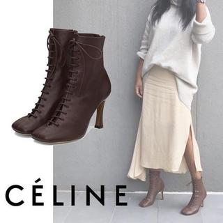 CELINE レースアップ・グローブブーティー アンクルブーツ 4色(ブーツ)