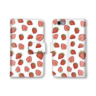 イチゴ柄 苺 可愛い スマホケース 送料無料 手帳型ケース 選べるミラー 果物柄(スマホケース)