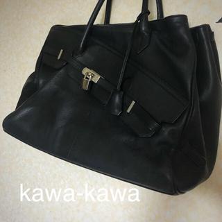 イアパピヨネ(ear PAPILLONNER)の kawa-kawa カワカワ バーキン型バッグ ネイビーカラー使用感有〼(ボストンバッグ)