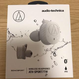 オーディオテクニカ(audio-technica)のaudio-technica ATH-SPORT7TW グレー 1日のみ使用(ヘッドフォン/イヤフォン)