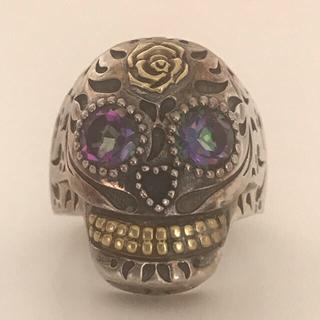 メキシカンリング シルバースカルリング(9号)真鍮 メキシコSKULL RING(リング(指輪))