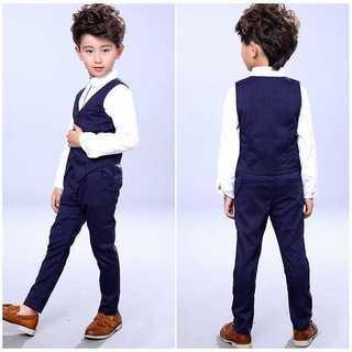 【かっこいい♪】子供スーツ 男の子 ベスト&ズボンセット 140cm z476(ドレス/フォーマル)