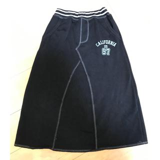 ジーユー(GU)の女児 裏シャギー ロングスカート 140cm 黒色 long skirt (スカート)