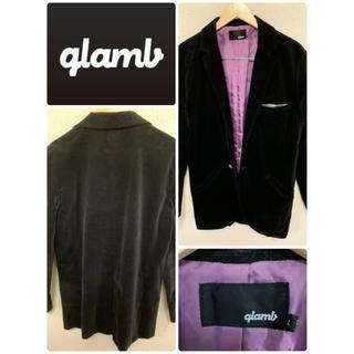 グラム(glamb)のグラム gramb テーラードジャケット サイズL ブラック ×パープル(テーラードジャケット)
