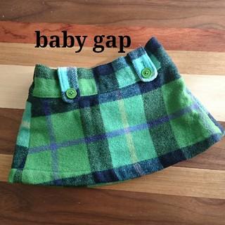 ベビーギャップ(babyGAP)の【未使用に近い】baby gap ウール チェック柄 スカート 80サイズ(スカート)