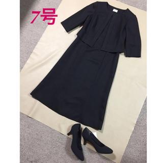 【新品】前開き ブラックフォーマル 喪服 七分袖ワンピース 黒 ブラック 7号(礼服/喪服)