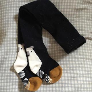 シマムラ(しまむら)のタイツ 新品 黒 紺 ブラック 白熊 可愛い 動物 滑り止め付き 男の子 女の子(靴下/タイツ)
