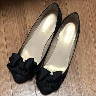 アゴストショップ(AGOSTO SHOP)のアゴスト パンプス 靴 黒 フォーマル リボン(ハイヒール/パンプス)