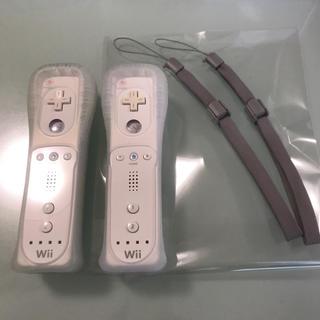 Wii - 【任天堂純正品】Wiiシロリモコン2個セット(未使用ストラップ付)