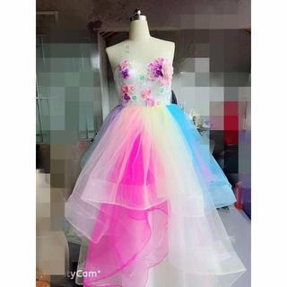 ウエディングドレス 大人気レインボーカラードレス 結婚式 お色直し