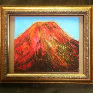 【赤富士】アクリル絵画。ラメつき。