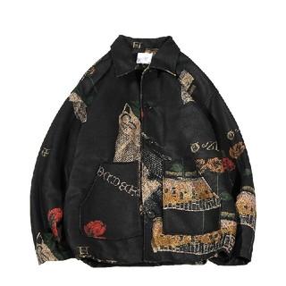 黒 大きいサイズ ジャケット メンズ コート厚手 2色 古着(Gジャン/デニムジャケット)