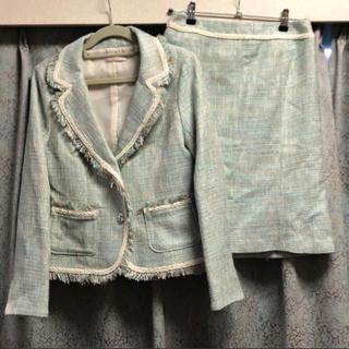 エル(ELLE)の新品♡ ELLE フォーマル 入学式 スカートスーツ 緑 パステル グリーン(礼服/喪服)