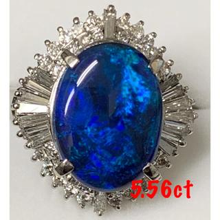 ❤️大粒❤️ブラックオパール5.56ctダイヤ1.06ctリングPt900(リング(指輪))
