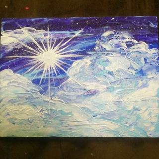 【太陽と雲】アクリル絵画。ラメつき。