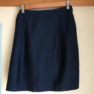 グラスライン(Glass Line)のスカート 青と黒 ラメ入り glass line 美品(ひざ丈スカート)