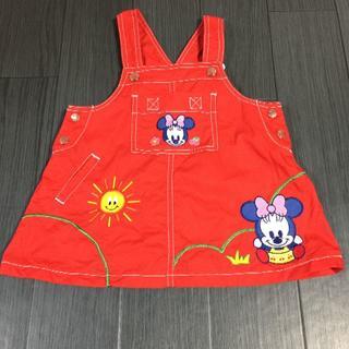ディズニー(Disney)のディズニー ワンピース ジャンパースカート 赤 90cm(ワンピース)