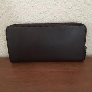 MUJI (無印良品) - 無印 イタリア産ヌメ革ラウンドファスナー 長財布  ブラウン
