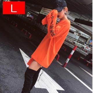 人気!オレンジL☆トレンド ストリート系 ロングスリーブ ロンT スウェット (Tシャツ/カットソー(七分/長袖))