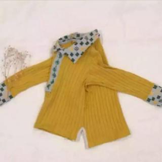ナチュラルブー(Natural Boo)のナチュラルブー  マスタード 襟付き リブ カットソー(Tシャツ/カットソー)