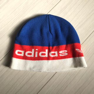 アディダス(adidas)のアディダス adidas ニット帽 ブルー 赤 白 帽子 ニット(ニット帽/ビーニー)