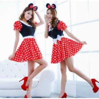 レディース ワンピース ミニーちゃん風 ミニーマウス風 コスプレ 衣装(衣装一式)