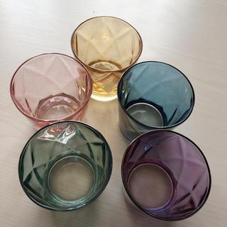 海外 ガラスコップ5個セット カラフル