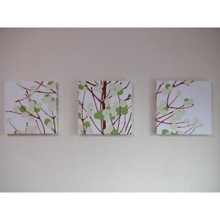 ファブリックパネル 樹木柄 グリーン 30×30㎝ 3枚組(インテリア雑貨)