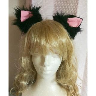 新品 作家様ハンドメイド 猫耳クリップ 黒 黒猫コスプレ(衣装)