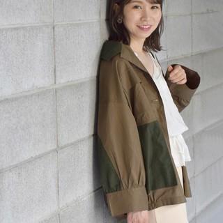 ダブルクローゼット(w closet)のW closet 異素材切替シャツ羽織り(シャツ/ブラウス(長袖/七分))