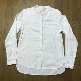 無印 オーガニックコットンフランネル スタンドカラーシャツ