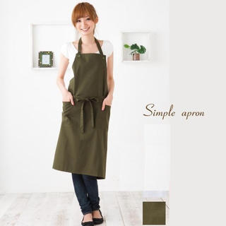 エプロン グリーン  カーキ カフェ風 シンプル おしゃれ(収納/キッチン雑貨)