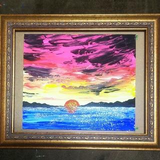 【湖と夕焼け】アクリル絵画。ラメつき。